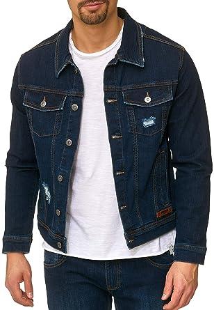 c2c4ab6aea79 Indicode Homme Jeans Veste Denim Blouson Used-Look Coton Bryne Dark Blue S