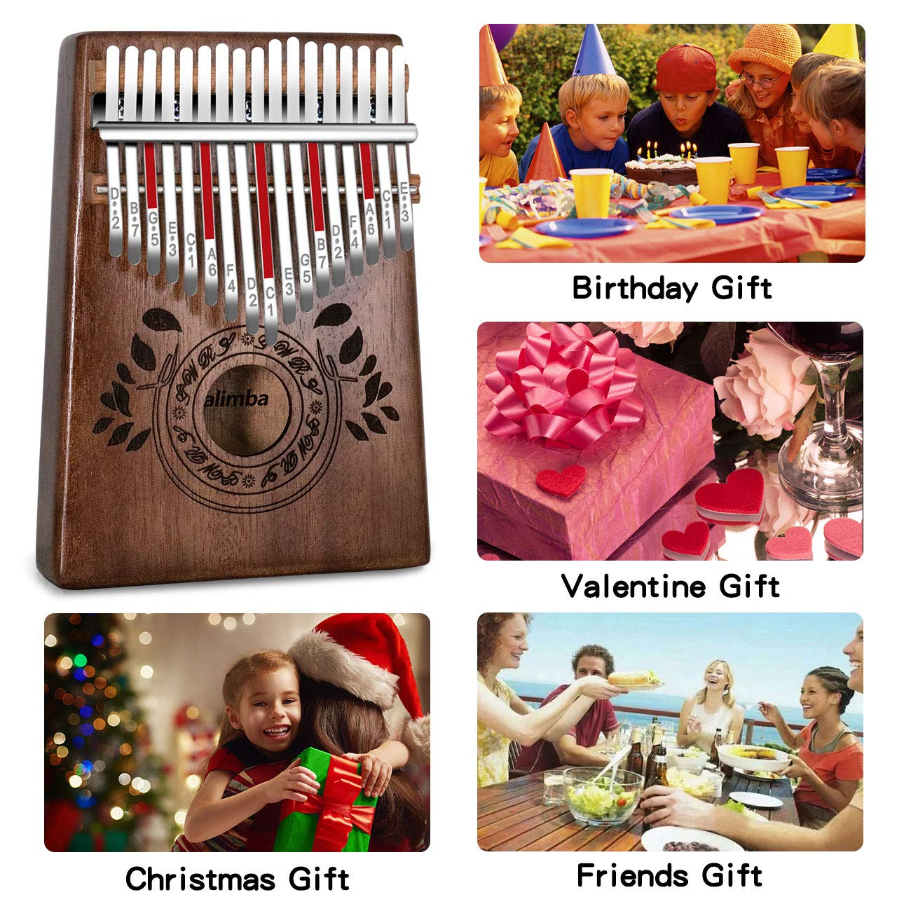 UNOKKI Kalimba 17 Keys Thumb Piano with Study Instruction and Tune Hammer, Portable Solid African Wood Finger Piano, Gift for Kids Adult Beginners (Chocolate Brown). by UNOKKI (Image #6)