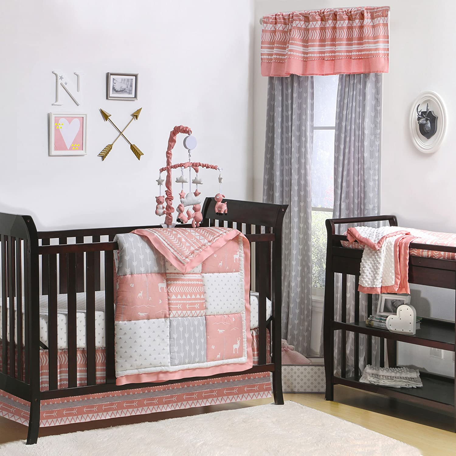 Coral Woodland and Geometric Patchwork 4 Piece Crib Bedding by The Peanut Shell by The Peanut Shell   B01HQR8I4O