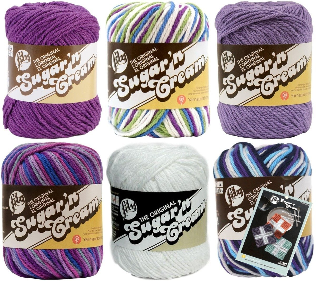 Variety Assortment Lily Sugar'n Cream Yarn 100 Percent Cotton Solids and Ombres (6-Pack) Medium Number 4 Worsted Bundle with Four Square Dishcloth Pattern Spinrite® 10200