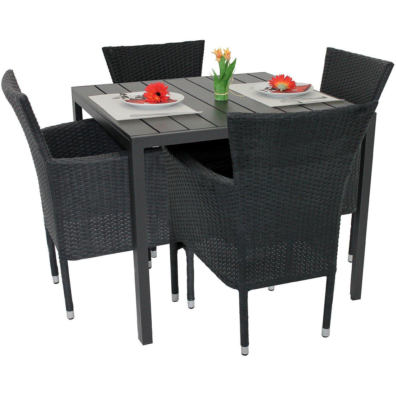 5tlg Gartenmöbel Set Aluminium Polywood Tisch 90x90cm 4x Poly
