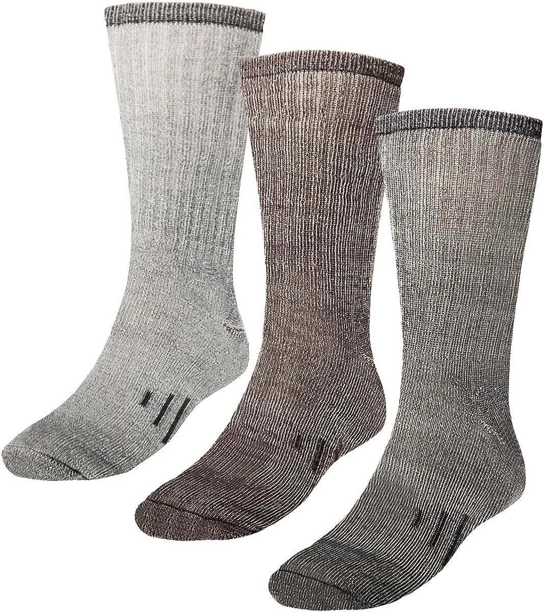 3 Pairs 80% Merino Wool Thermal Crew Mens Wool Socks For Winter, Mens and Womens Hiking Socks