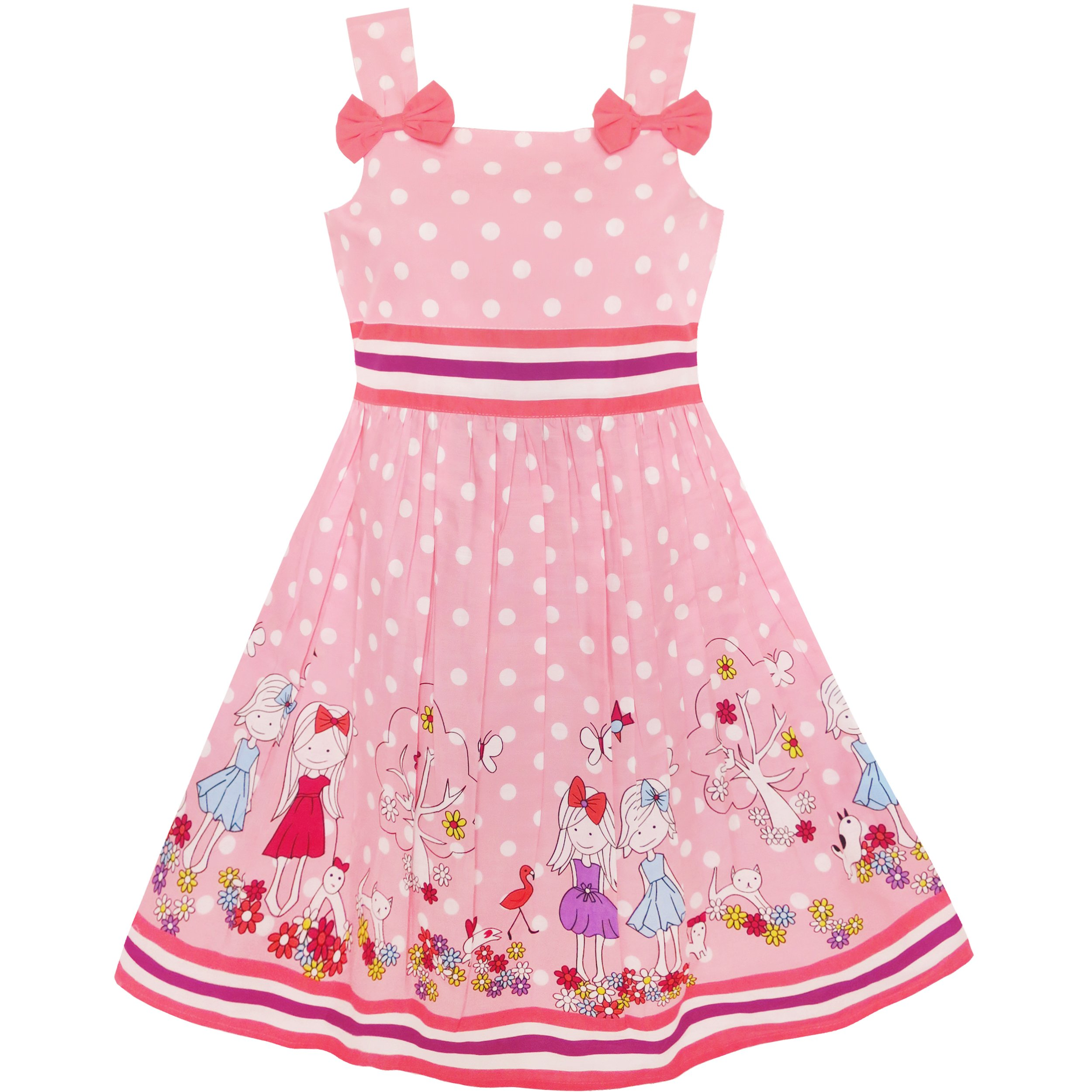 KM12 Girls Dress Cartoon Polka Dot Bow Tie Summer Size 4-5, pink