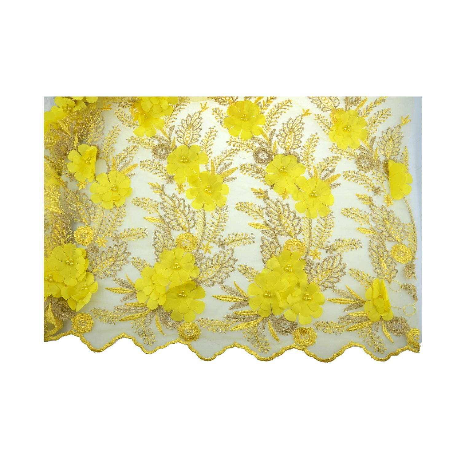 LaceQin 5 Yards 3D Swiss Yarn Lace Wedding African Lace Fabric French Royal Lace Fabric (Yellow)