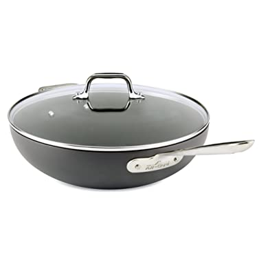 All-Clad E7859464 HA1 Hard Anodized Nonstick Dishwasher Safe PFOA Free Chefs Pan/Wok Cookware, 12-Inch, Black