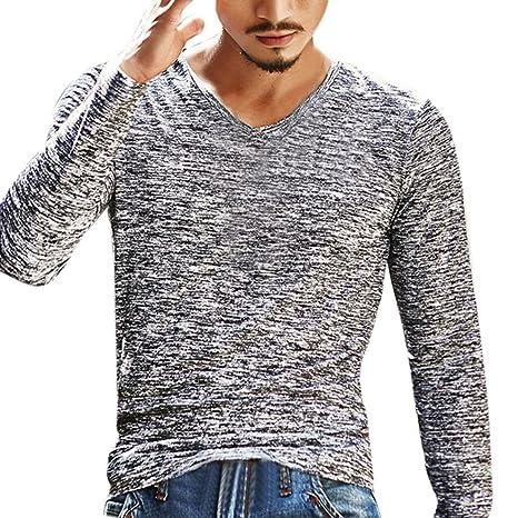 Uomo T ningsun Moda Estate Solido Collo V Shirt NOm8nv0w