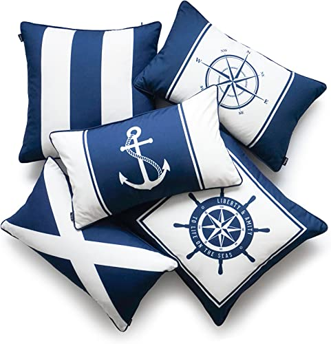 Hofdeco Nautical Indoor Outdoor Pillow Cover ONLY, Water Resistant for Patio Lounge Sofa, Navy Blue Wheel Flag Anchor Compass Stripes, 18 x18 12 x20 , Set of 5