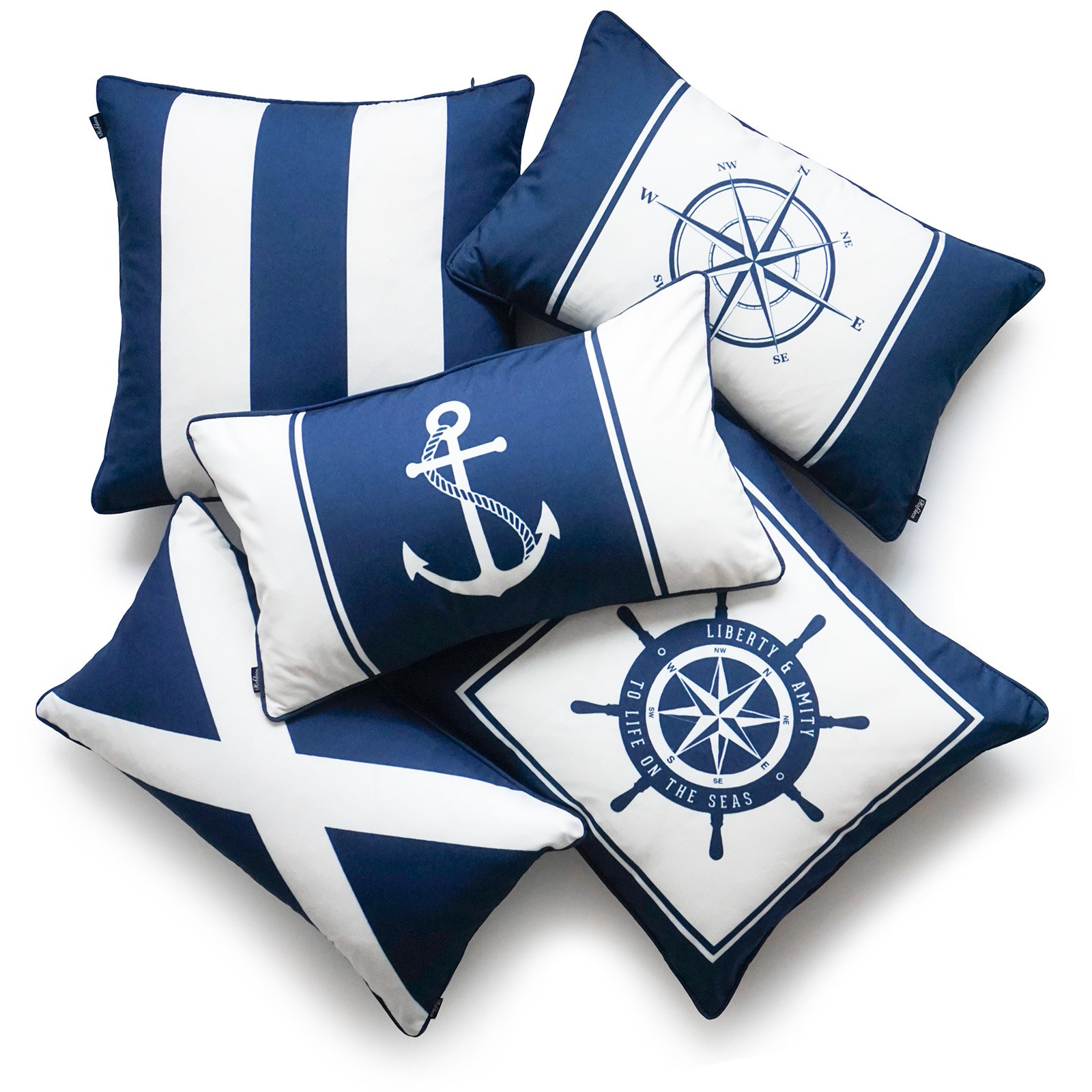 Hofdeco Nautical Indoor Outdoor Pillow Cover ONLY, Water Resistant for Patio Lounge Sofa, Navy Blue Wheel Flag Anchor Compass Stripes, 18''x18'' 12''x20'', Set of 5