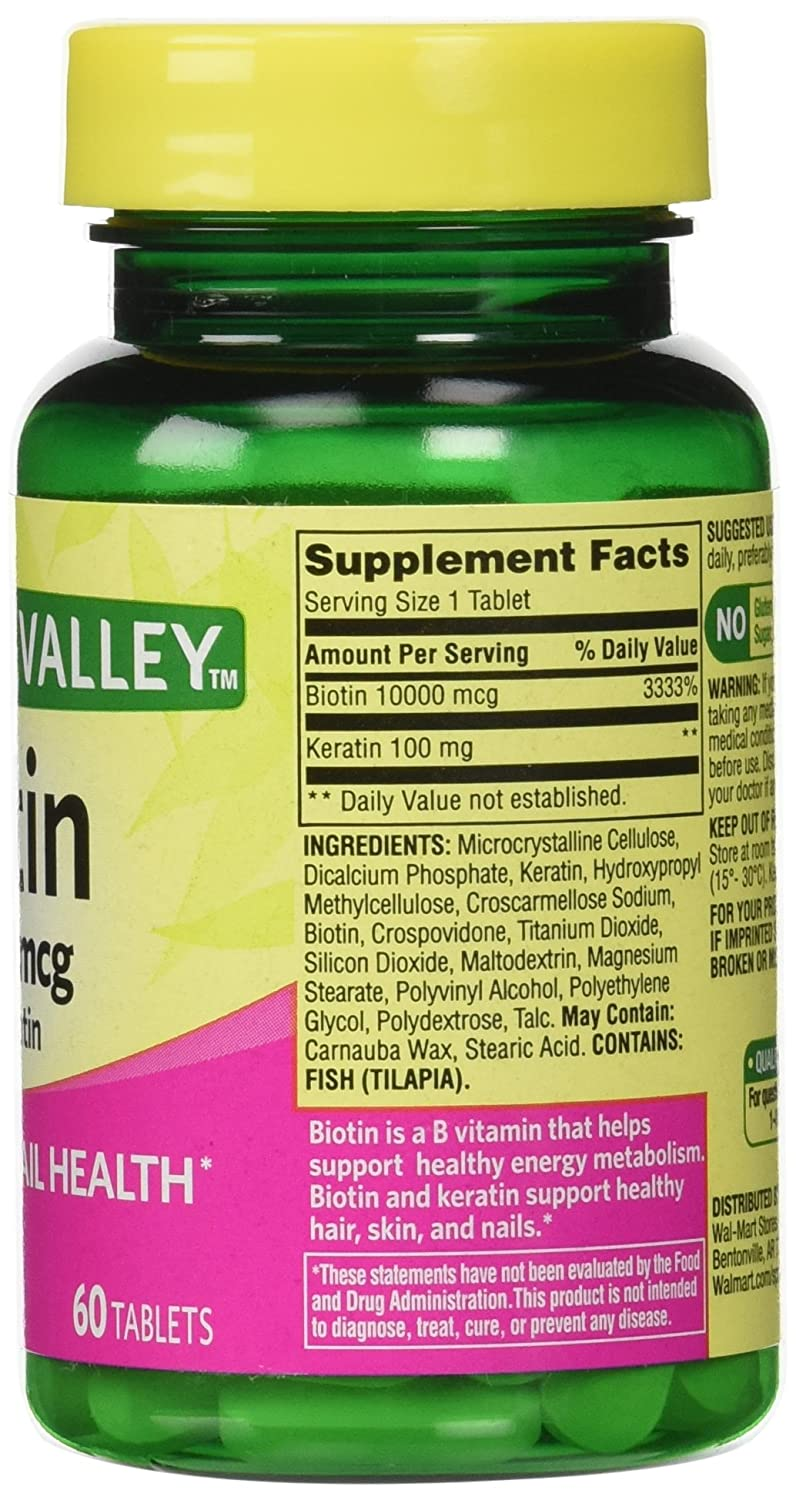 Amazon.com: Spring Valley Biotin Dietary Supplement, 10,000 Mg With ...