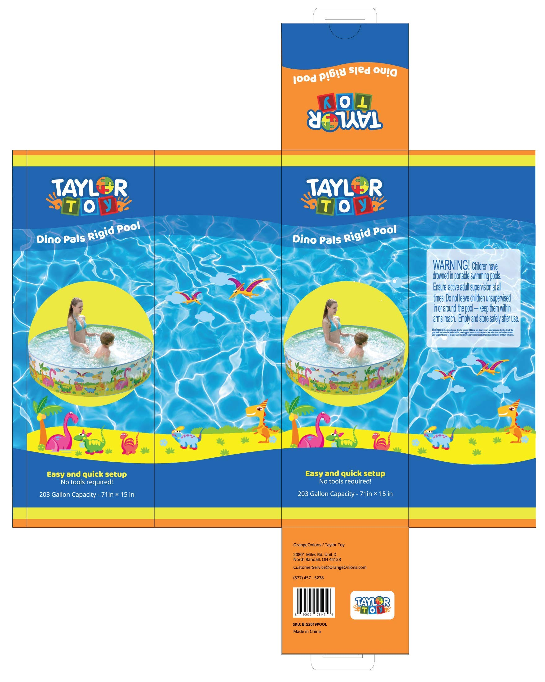 Taylor Toy Snapset Swimming Pool for Kids | Toddler and Baby Pool | 71'' Diameter x 15'' Depth, 203 Gallon Kiddie Pool | Dinosaur
