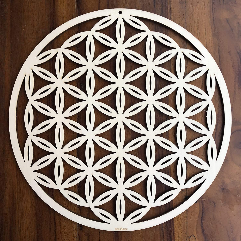 "ZenVizion 13.5"" Flower of Life Wall Art, Sacred Geometry Home Decor, Meditation Symbol, Yoga Hanging Artwork, Laser Cut Wooden Wall Sculpture, Wealth, Prosperity, Abundance, Gift"