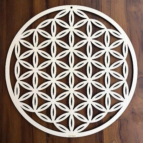 ZenVizion 13.5 Flower of Life Wall Art, Sacred Geometry Wall Art, Wooden Wall Art Decor, Yoga Wall Art Hanging, Laser Cut Artwork, Wall Sculpture Symbol, Gift purpose