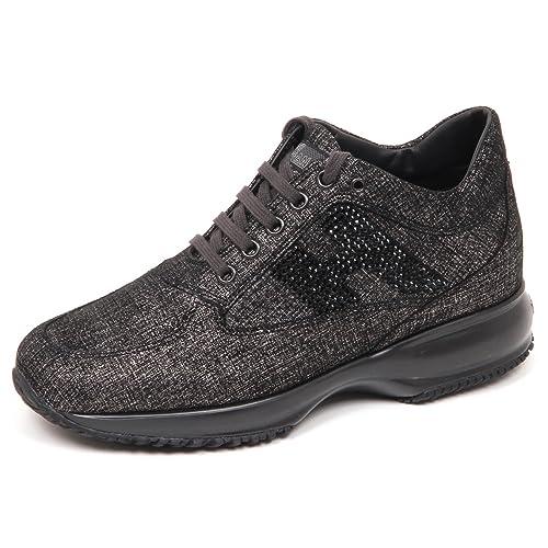 E4302 sneaker donna nero/platino HOGAN INTERACTIVE scarpe H strass shoe woman