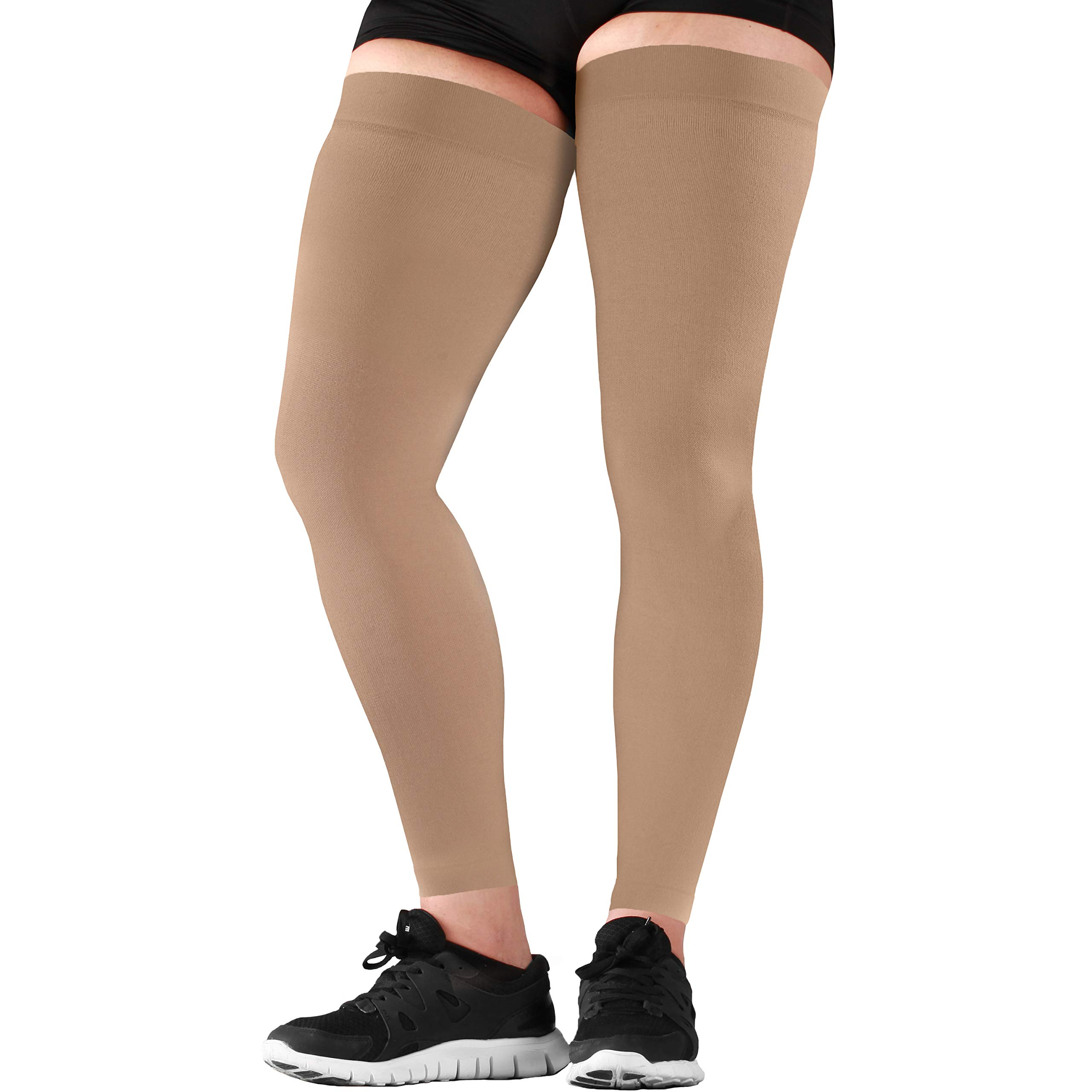 Mojo Compression Thigh Sleeve - Sports Full Leg Support & Recovery Sock Sleeve -Treat Hamstring and Quad Injuries - Hamstring Compression Sleeve - Running Compression Thigh Sleeve (X-Large, Beige) by Mojo Compression socks