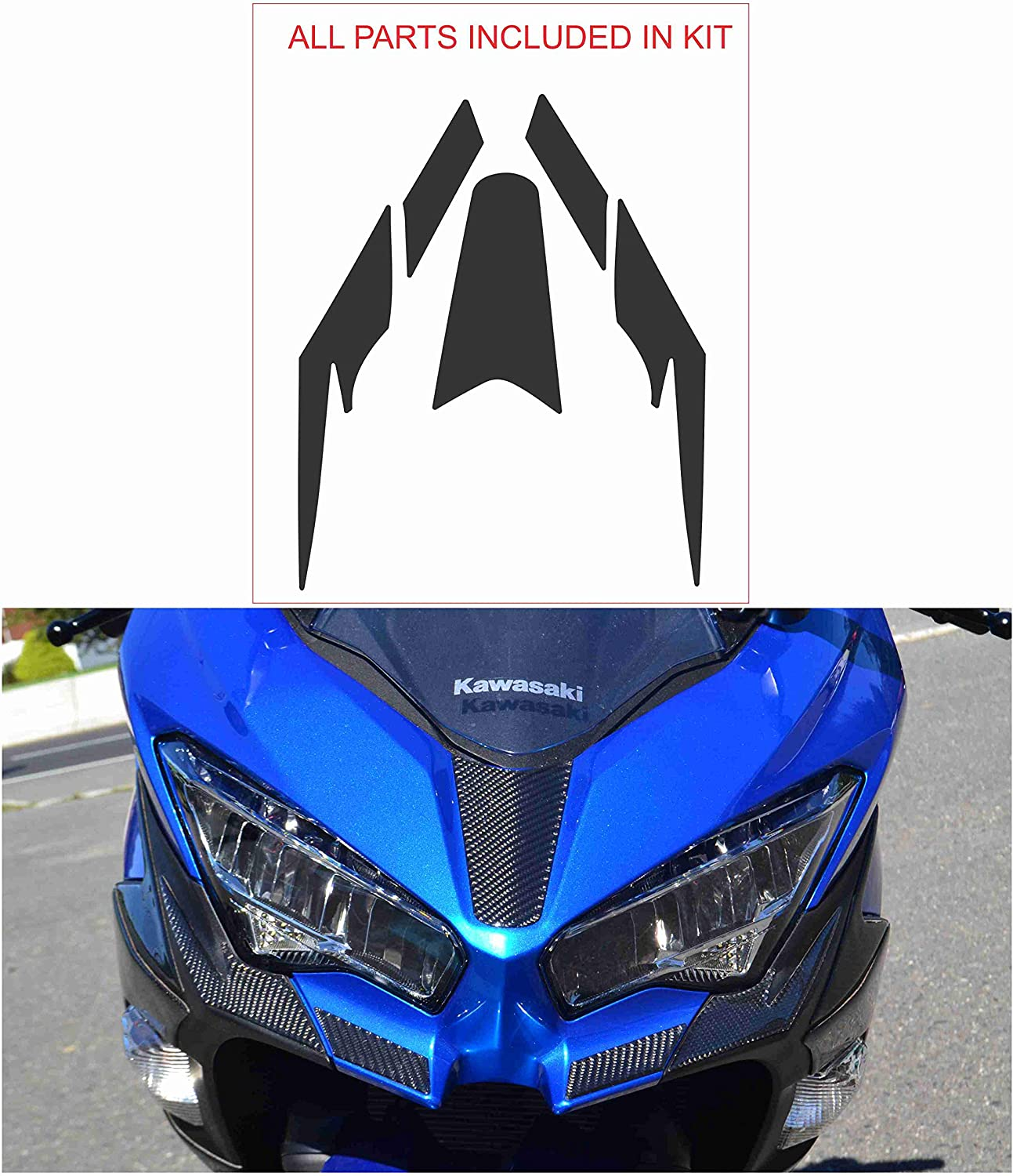 cmodd Premium Real Carbon Fiber Head Light Fairing Sharp Trim kit fit Kawasaki Ninja 400 2018 2019 2020 Sticker Overlay Trim