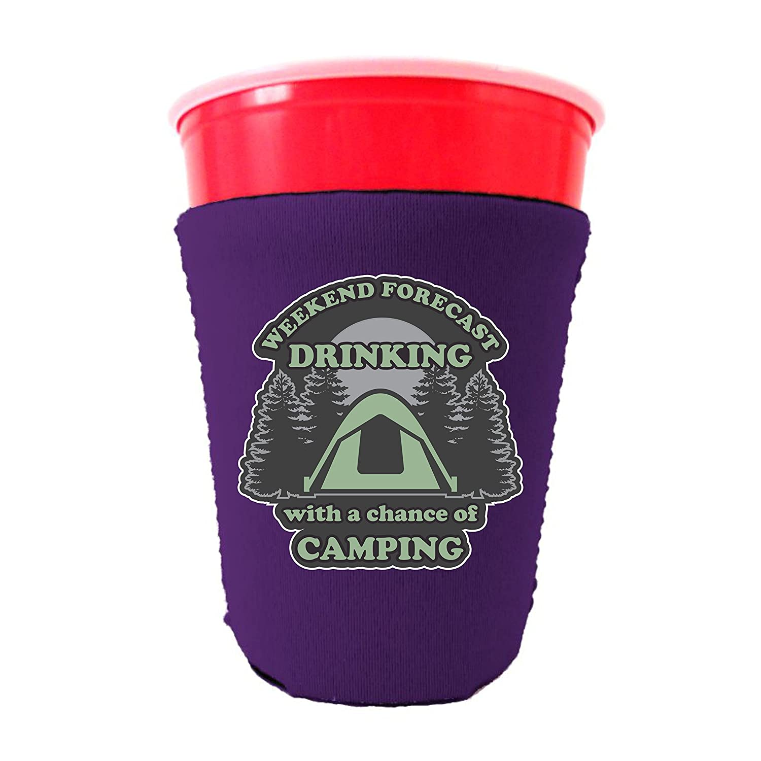 週末予測Drinking with a Chance ofキャンプネオプレンCollapsibleソロカップクーリー 16-18 oz. Party Cup パープル WeekendForecastSoloPurple B07B2B4GGT  パープル