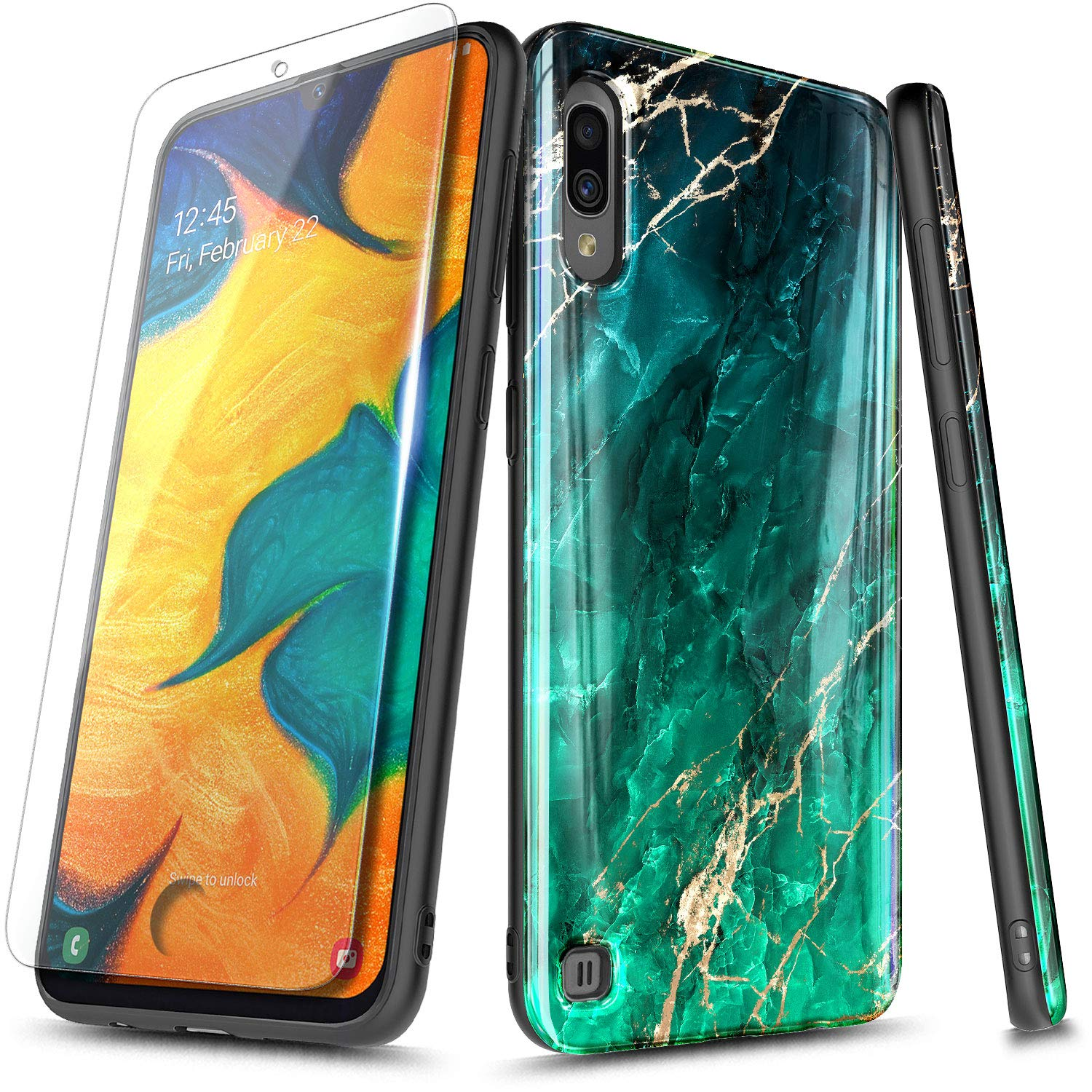 NageBee Case for Samsung Galaxy A10 / Galaxy M10 with Tempered Glass Screen Protector, Ultra Slim Thin Glossy Stylish Protective Cover Phone Case (Not Fit Samsung Galaxy A10E) -Emerald Marble by NageBee