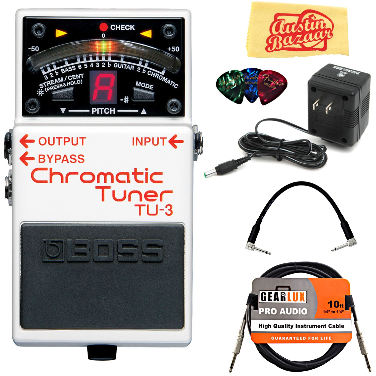 Boss TU-3 Chromatic Tuner Guitar Effects Pedal Bundle with 9V Power Adapter, Gearlux Instrument Cable, Patch Cable, Picks, and Polishing Cloth by BOSS
