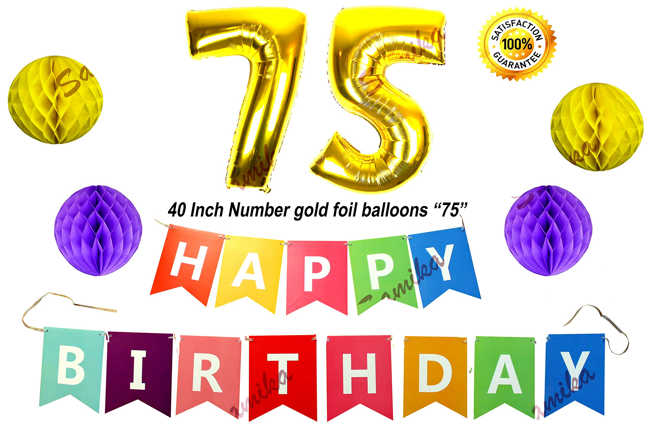 Happy 75th Birthday Decorations Banner Set Comes With 40 Inch 75 Number Foil Balloon Rainbow
