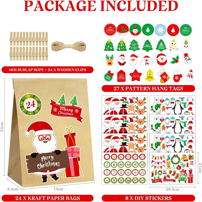 para Navidad Decoraci/ón Set de Bolsas de Regalo con 24 Bolsas de Papel Kraft Envolver Regalos 27 Tarjeta de Navidad 24 Clips y 8 Pegatinas con 24 N/úmeros 24 Calendario Adviento Navidad DIY