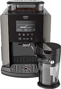 Krups Quattro Force Arabica Latte EA819E - Cafetera Superautomática 15 Bares, Pantalla LCD, Programas de Leche y Personalización Bebidas, Molinillo Metálico Profesional, Modo Limpieza, Jarra Leche