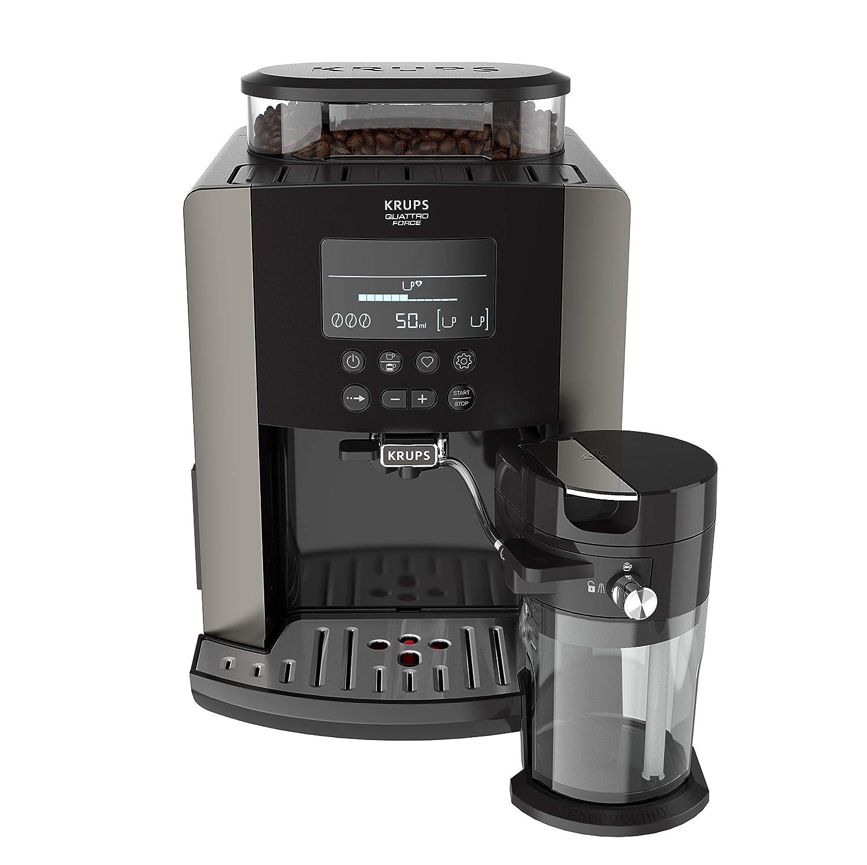 Krups Quattro Force Arabica Latte EA819E10 - Cafetera Superautomática 15 Bares, Pantalla LCD, Programas de Leche y Personalización Bebidas, Molinillo ...