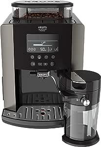 Krups EA819E Quattro Force Arabica Latte - Cafetera Superautomática 15 Bares, Pantalla LCD, Programas de Leche y Personalización Bebidas, Molinillo Metálico Profesional, Modo Limpieza, Jarra Leche
