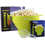 Microwave Popcorn Popper – Premium Silicone Popcorn maker, BPA PVC Free - Hot Air Popcorn Popper with Lid and Handles for Your Safety - Measuring Spoon and Recipes Included