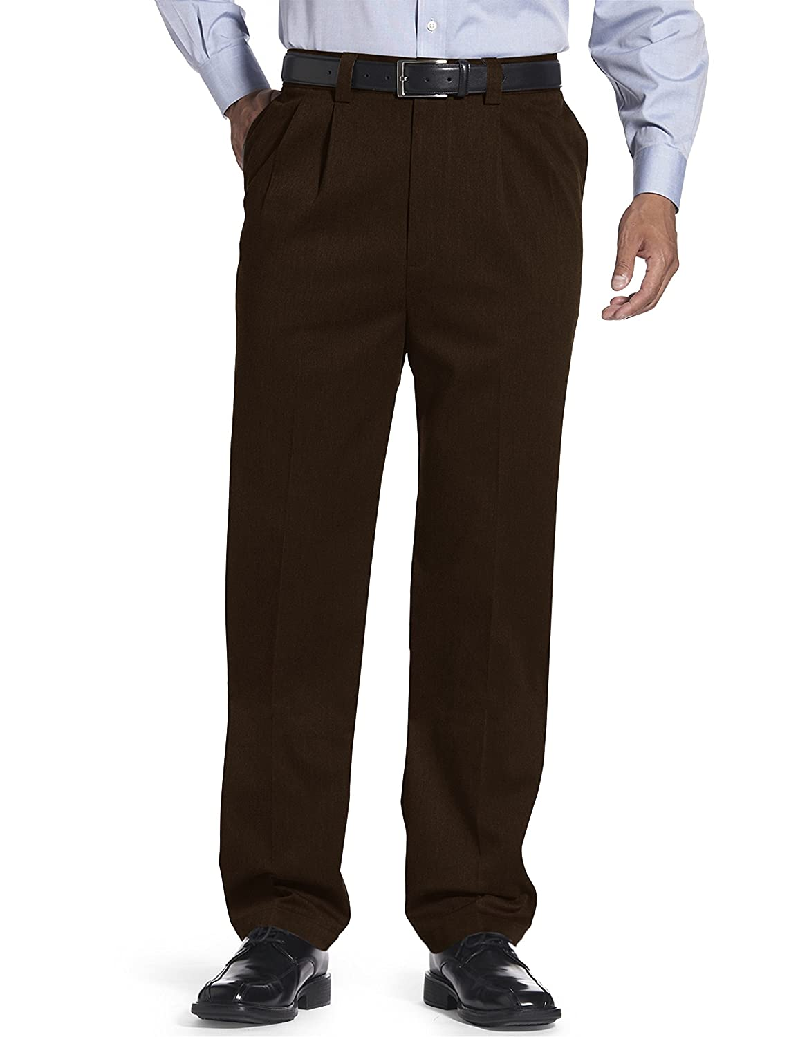 Oak Hill by DXL Big and Tall Dual Action Premium Twill Pleated Pants