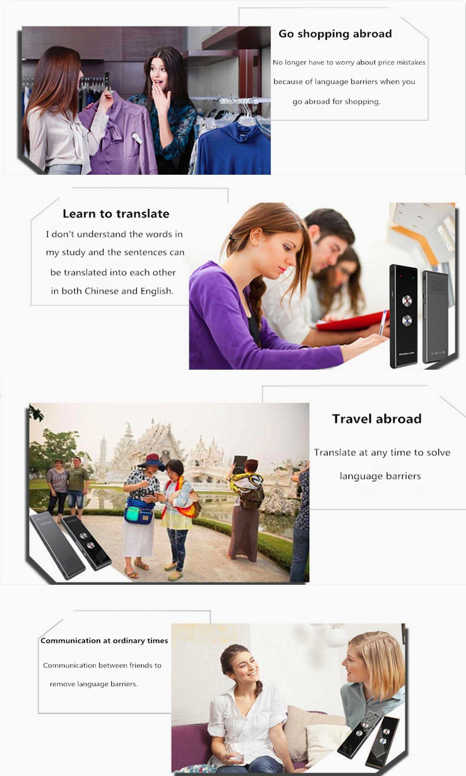 Translator Language Device Electronic Pocket Voice 33+ Languages for Travel Business Shopping Meeting