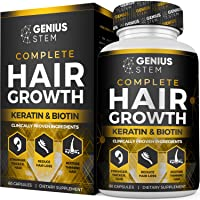 Hair Growth Supplement for Men & Women - DHT Blocker Support to Prevent Hair Loss & Thinning - Hair Vitamins with Biotin & Keratin for All Hair Types, 60 Capsules