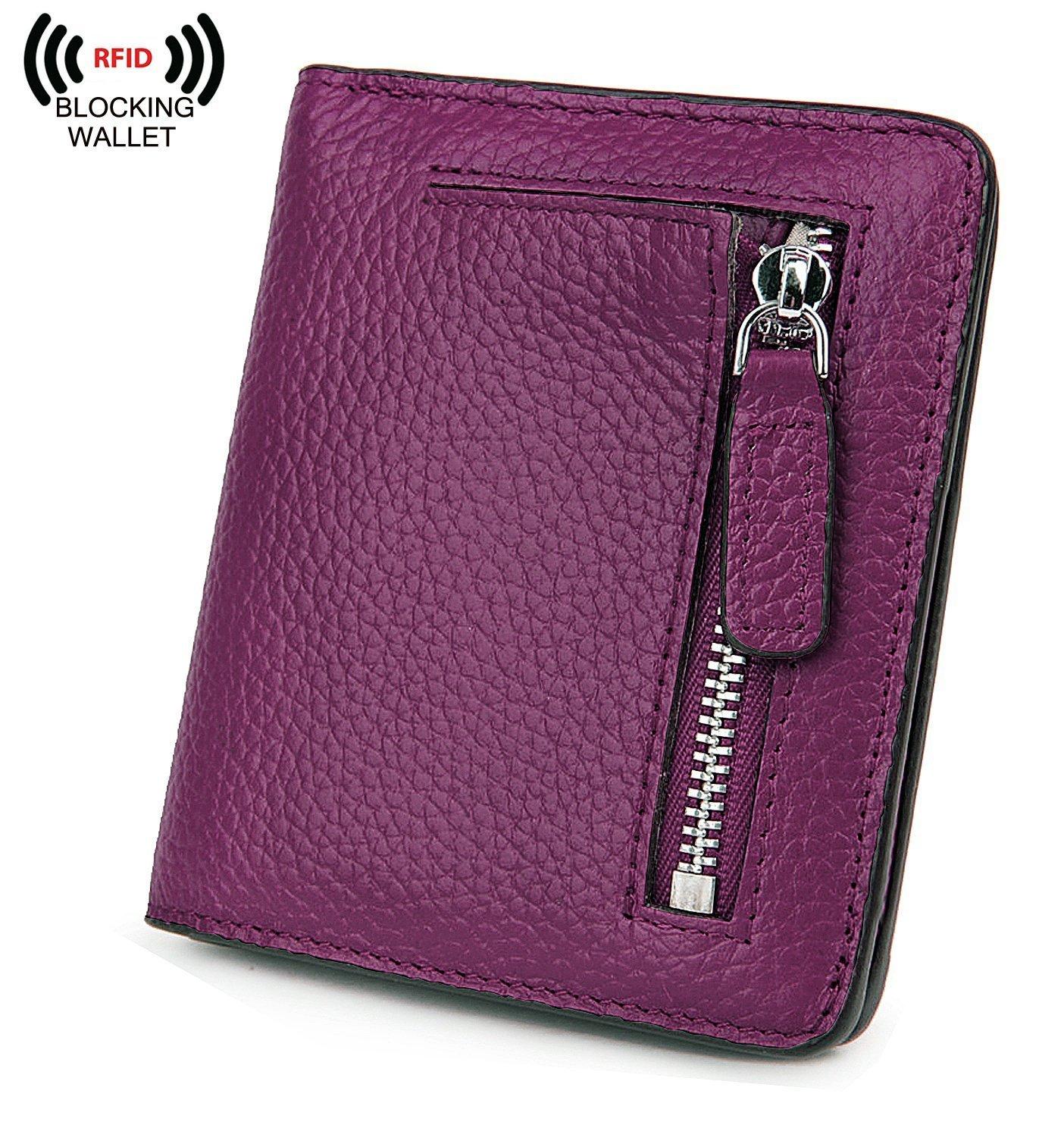 BIG SALE-AINIMOER Women's RFID Blocking Leather Small Compact Bifold Pocket Wallet Ladies Mini Purse with id Window (Dark Magenta)