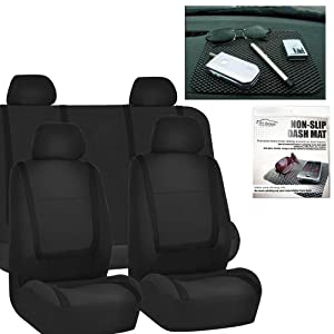 FH GROUP FH-FB032114 Unique Flat Cloth Car Seat Covers, Solid Black Color with FH GROUP FH1002 Non-slip Black Dash Grip Pad Mat- Fit Most Car, Truck, Suv, or Van