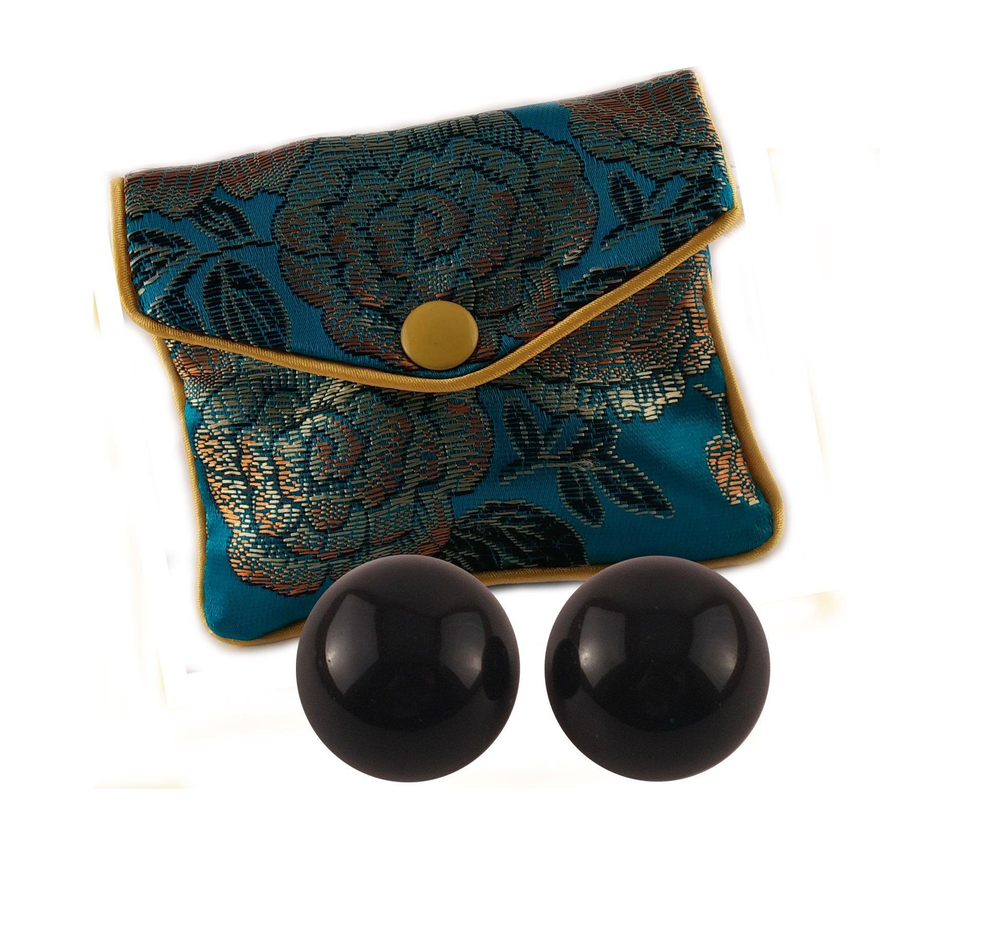 Ben Wa Balls 2-pcs Set, Undrilled, 1.00'' Diameter, Black Obsidian Gemstone