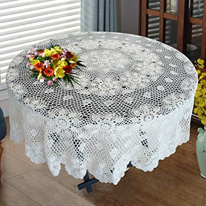 Amazon.com USTIDE 120\  Large Round Crochet Tablecloth White Cotton Lace Table Overlays Valued Designer Table Covers Customized Home \u0026 Kitchen & Amazon.com: USTIDE 120\