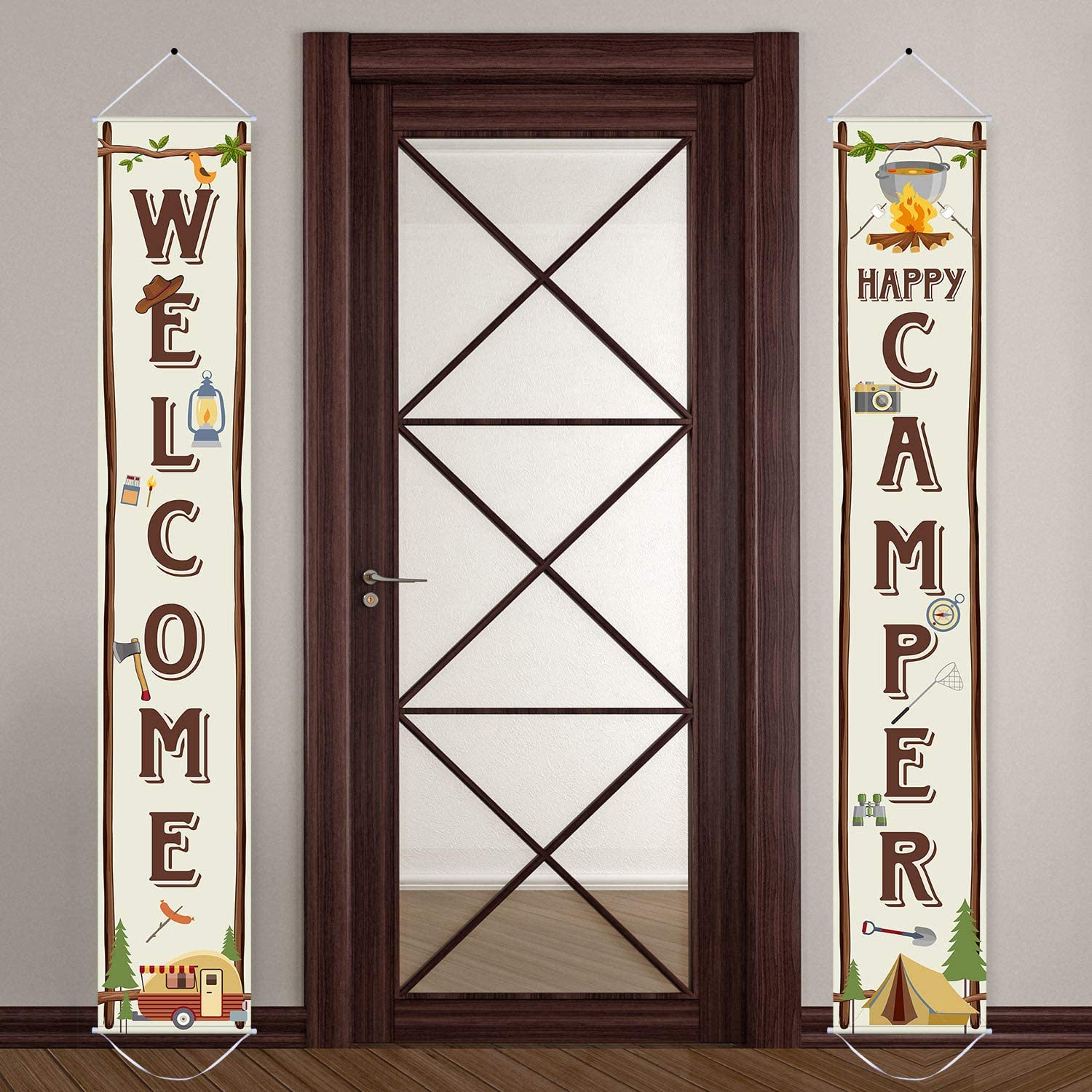 Camping Party Banner Camping Party Decorations Welcome Porch Sign for Camping Themed Birthday Baby Shower Decorations
