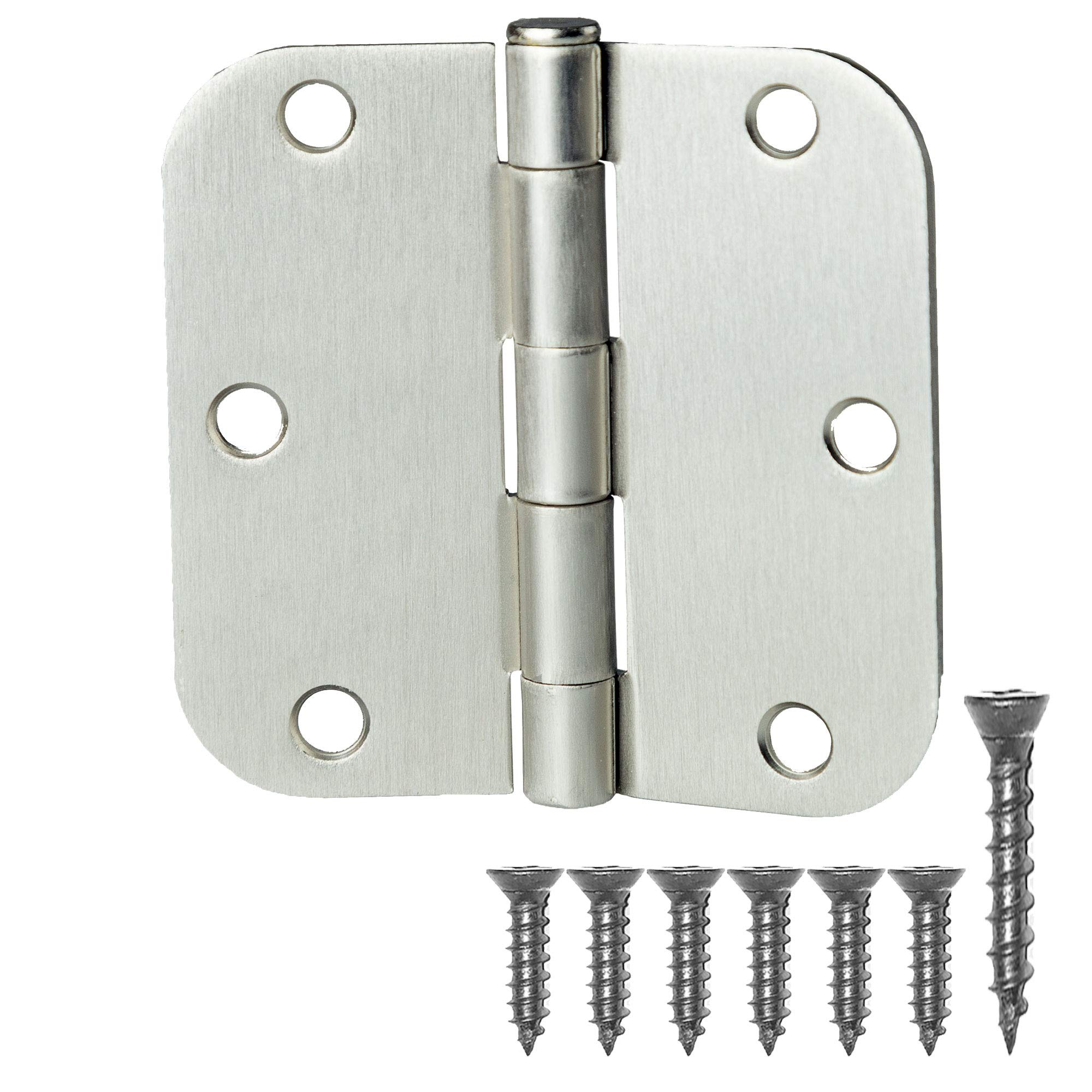 18 Pack of Door Hinges Satin Nickel - 3 ½'' x 3 ½'' Inch Interior Hinges for Doors Brushed Nickel with 5/8'' Radius Corners