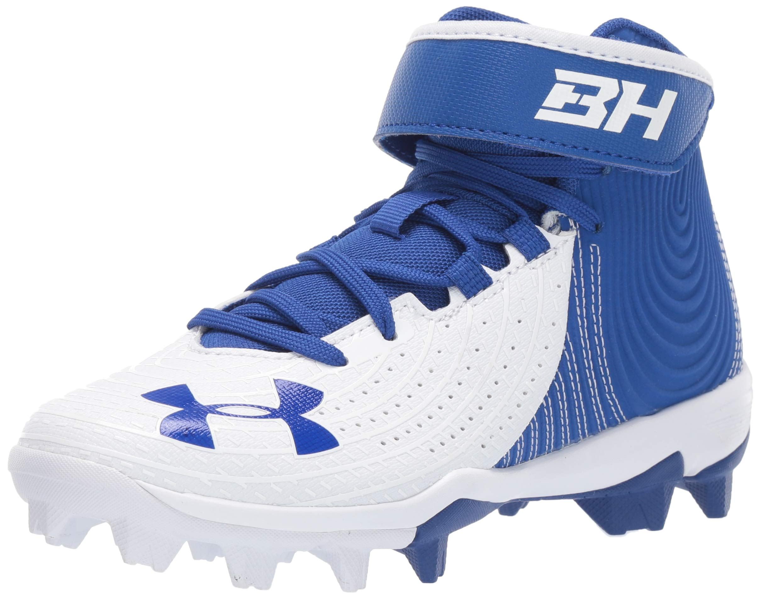 Under Armour Boys' Harper 4 Mid RM Jr. Baseball Shoe, Royal (400)/White, 3.5 by Under Armour