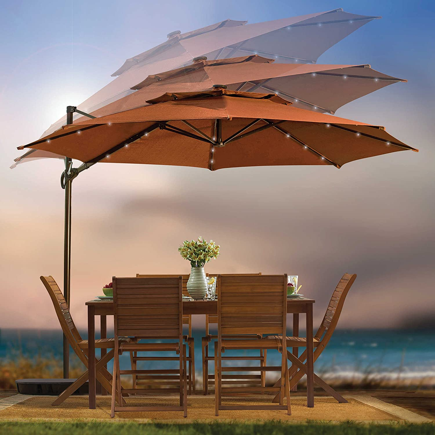 Amazon.com : Outdoor Patio Cantilever Umbrella 11 Foot Round Canopy With  Solor Powered Lights Includes Base And Storage Cover (Salsa) : Garden U0026  Outdoor