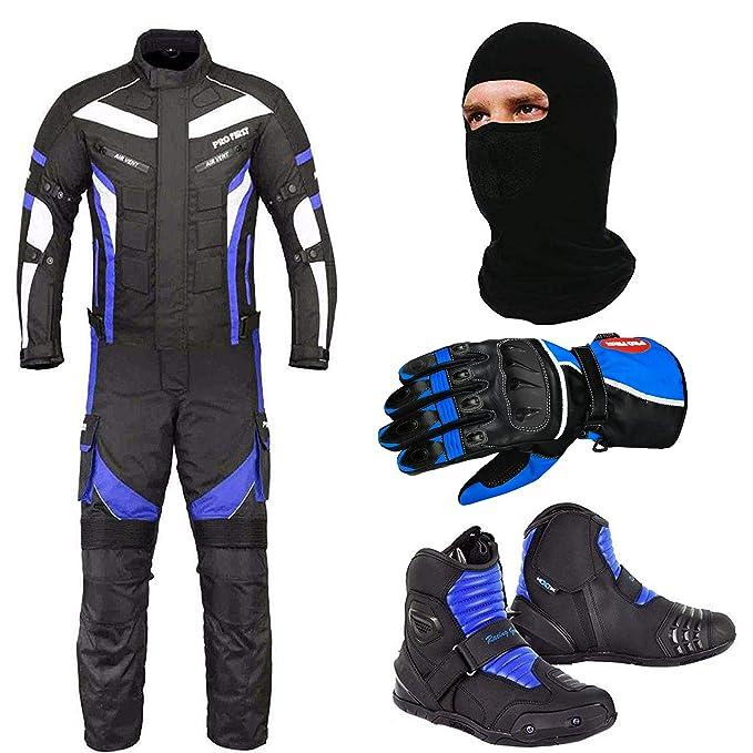 Waterproof Motorcycle Motorbike Moped Suit Jacket Trouser Gloves Boots Blue