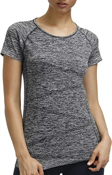 DISBEST Raglan Short Sleeves Yoga Shirts Round Neck Running Tees High Performance Sport Workout Tops for Women