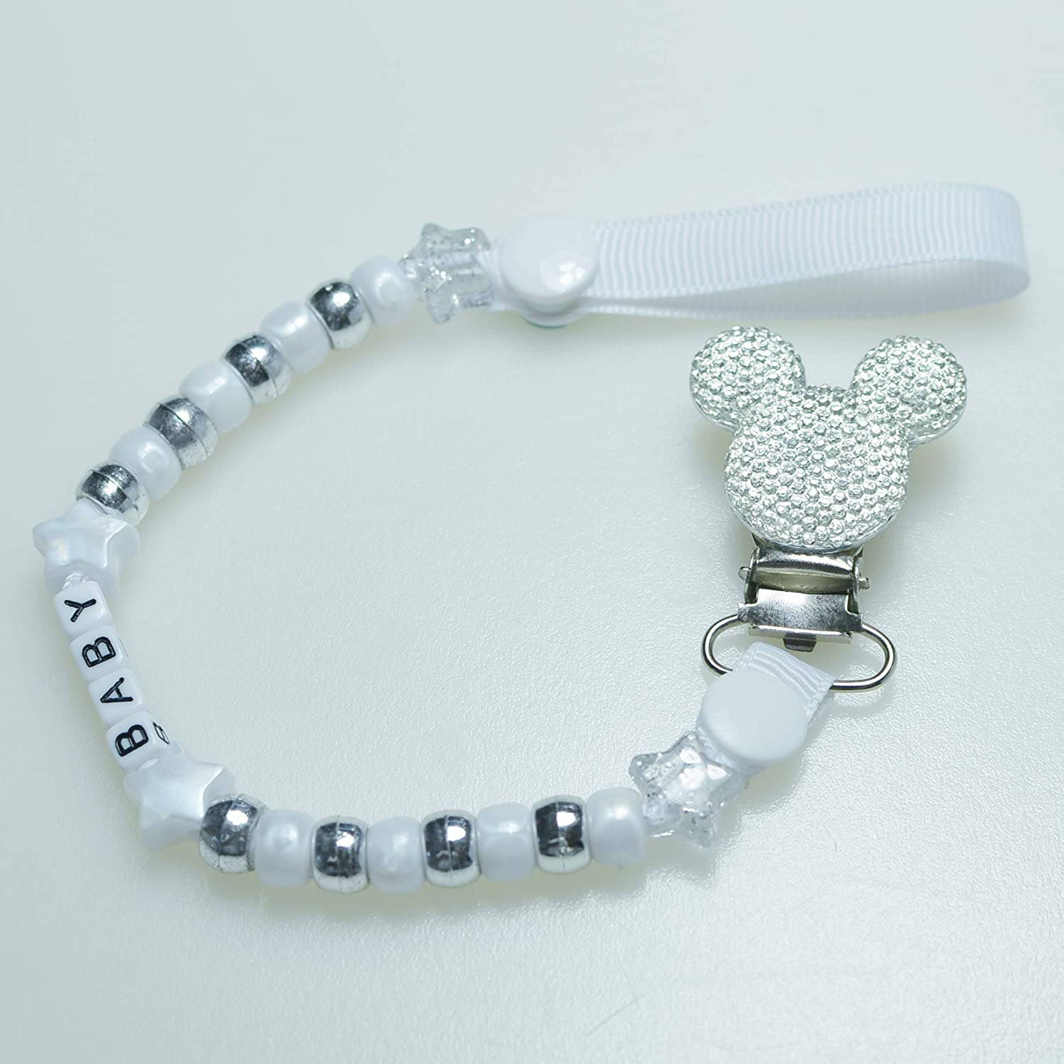 Personalised Dummy Chain by Bling Mickey Resin Metal Pacifier Chain for Baby Lavender
