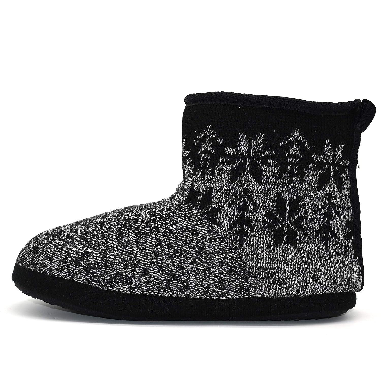 GPOS Knit Rock Wool Warm Men Indoor Pull on Cozy Memory Foam Slipper Boots Soft Rubber Sole