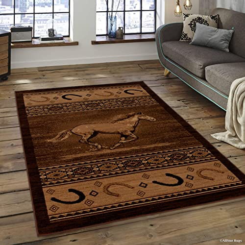 Allstar 8×11 Mocha Cabin Rectangular Accent Rug with Chocolate and Espresso Wildlife Running Stallion with Horseshoe Design 7 6 x 10 5