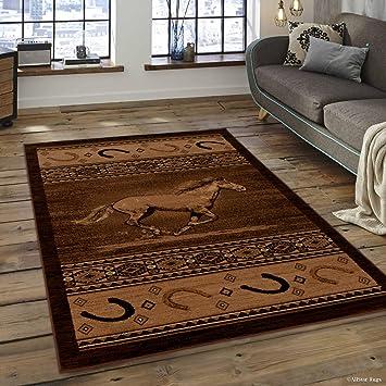 Amazon Com Allstar 8 X 11 Berber Woven Soft Southwest Horse Shoe