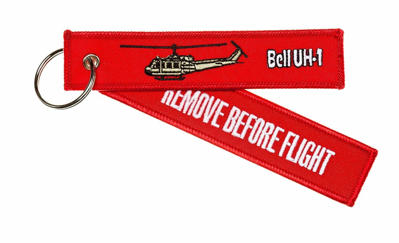 'quitar antes de vuelo'–-Bell UH-1Huey (helicóptero)–-Alta calidad equipaje/Llavero etiqueta incl. Llavero cromado