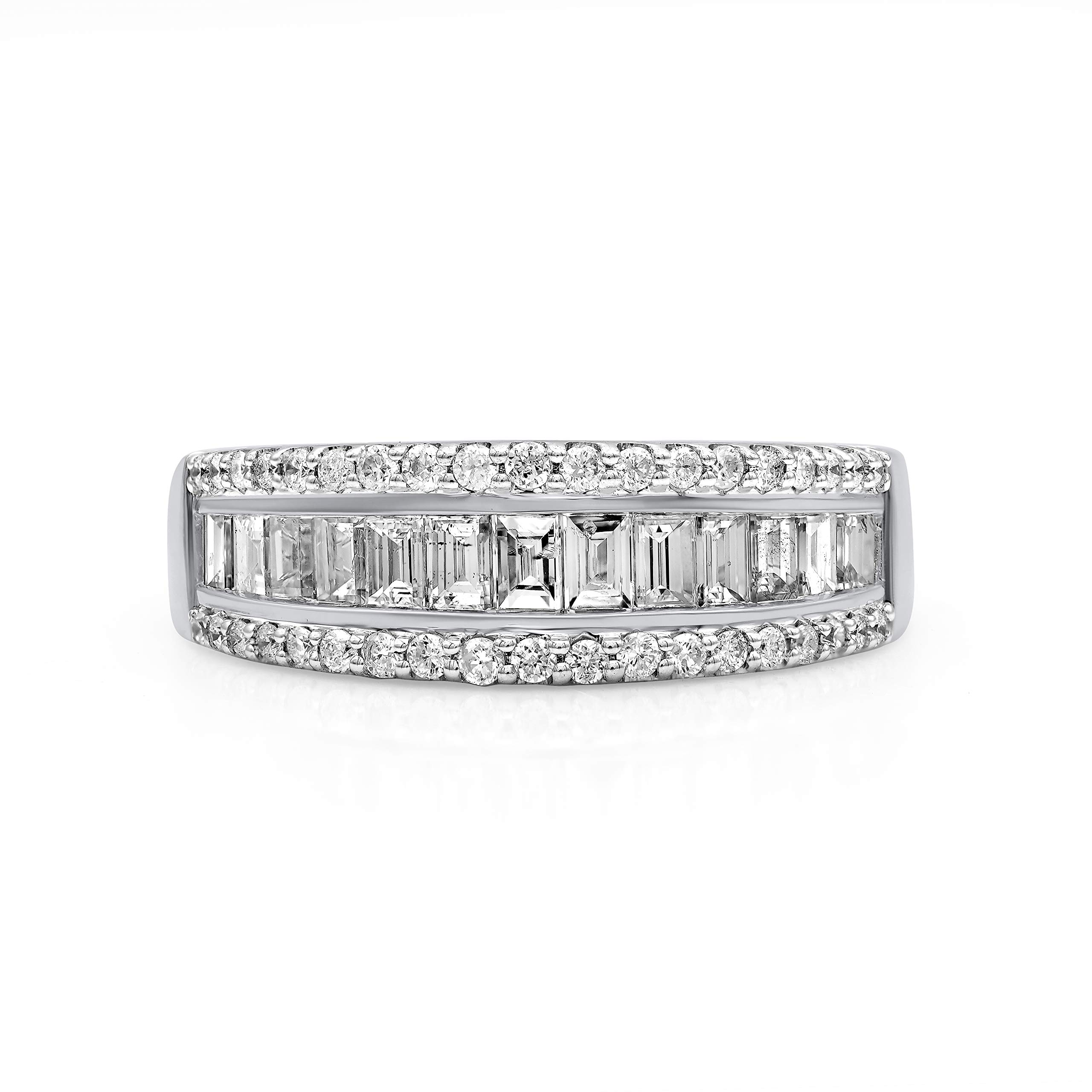 TJD 10K White Gold 1.00 Carat Round-Shape (H-I Color, I2 Clarity) and Baguette-Shape (G-H Color, I1-I2 Clarity) Gorgeous Diamond Band for Women, US Size 6
