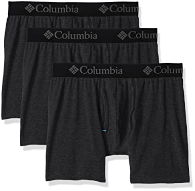 14b6d76931fd Columbia Men's Performance CTTN Stretch 3 PK Solid Boxer Brief, Black S