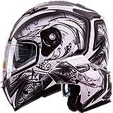 """IV2 Helmets """"DEMON SAMURAI"""" Dual Visor Modular Flip up Motorcycle Snowmobile Helmet DOT (L)"""