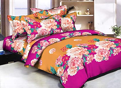 a5094a8ef2 Image Unavailable. Image not available for. Colour: Cozyland 3D Printed 180  TC Polycotton Double Bedsheet with 2 Pillow Covers ...